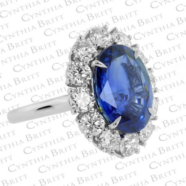 Sapphire and Diamond Princess Diana Ring-2061