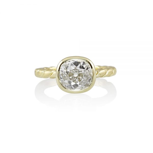 Sarah Rope Design Engagement Ring With Old Euro Cut Diamond-0