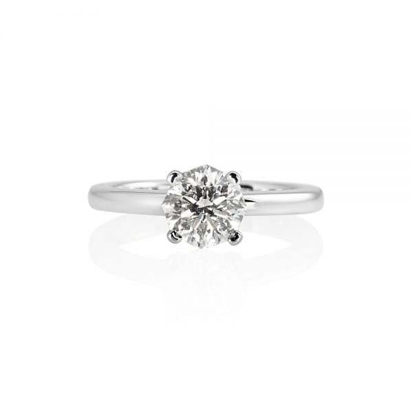 Anna Octagonal Diamond Solitaire Engagement Ring-0
