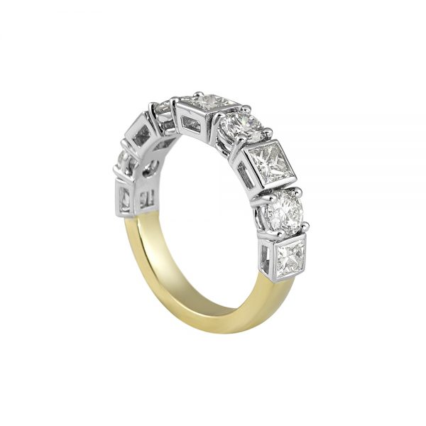 Lori Round and Princess Cut Wedding Ring-2097