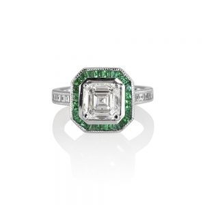Sheetal Asscher and Emerald Halo Engagement Ring-0