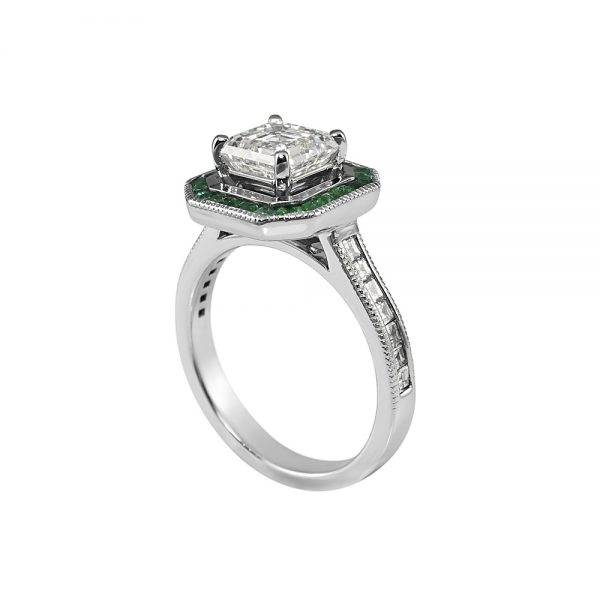 Sheetal Asscher and Emerald Halo Engagement Ring-2084