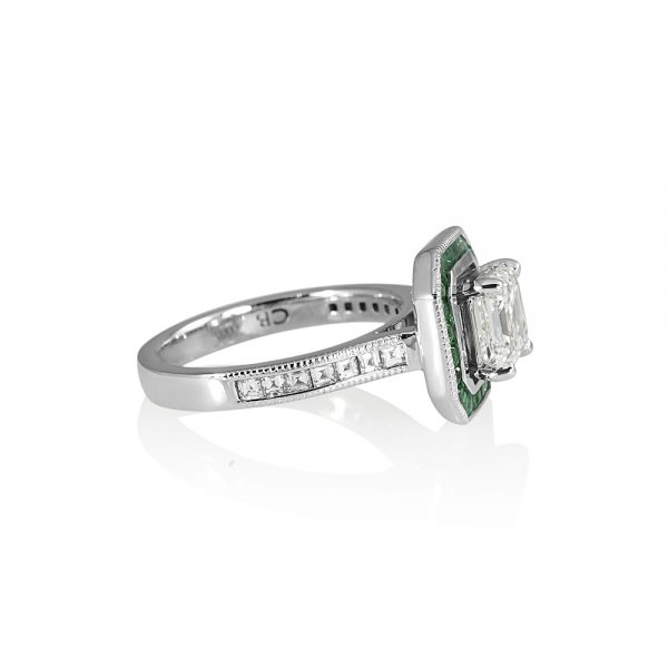 Sheetal Asscher and Emerald Halo Engagement Ring-2083