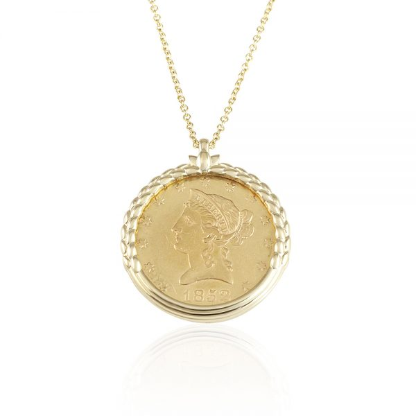 Coin Necklace With Wheat Design For Elizabeth-0