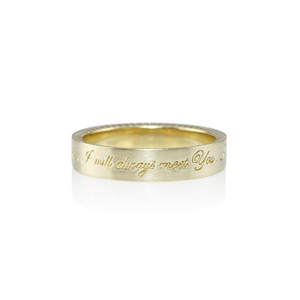 Men's Gold Wedding Band with Message for Clifford-0