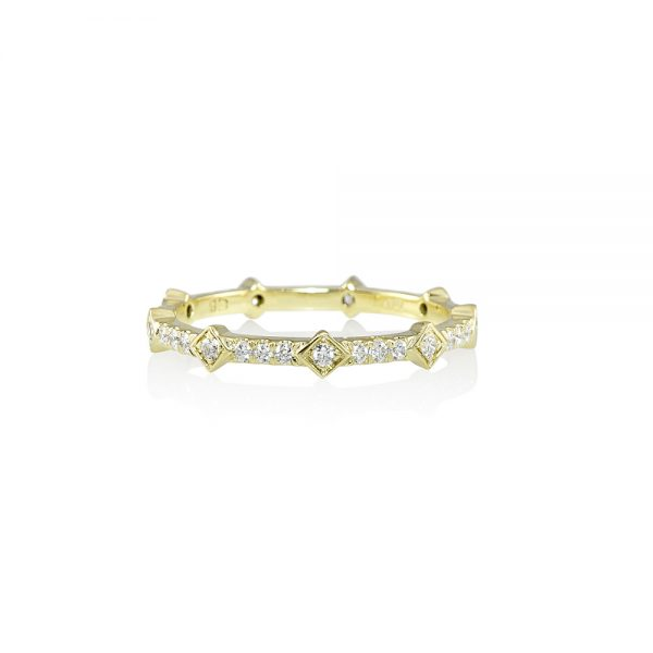 Yellow Gold and Diamond Station Wedding Band-0