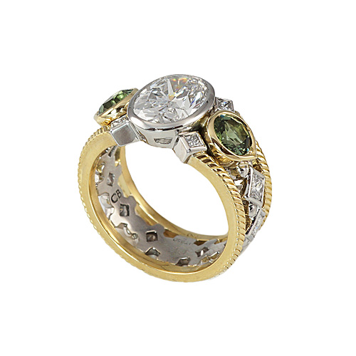 Oval and Green Tourmaline Engagement Ring