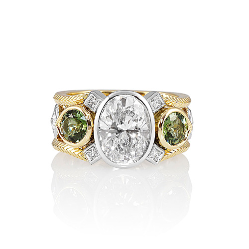 Oval Diamond Green Tourmaline Engagement Ring