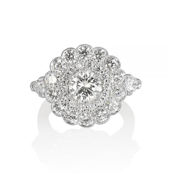 Helen Diamond Cluster Engagement Ring-0