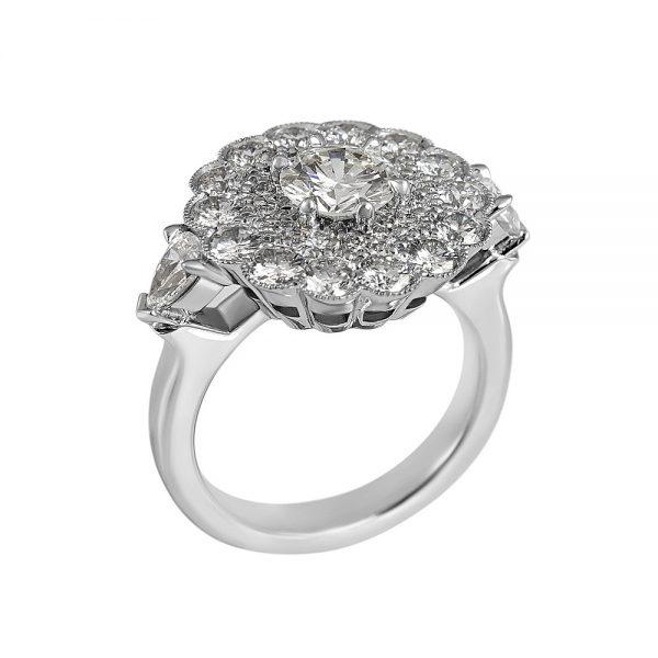 Helen Diamond Cluster Engagement Ring-2145