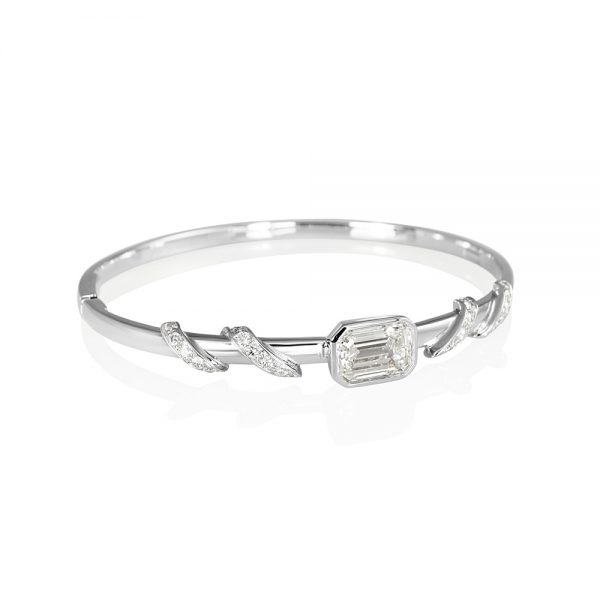 Maggie Emerald Cut Diamond With Diamond Wrap Bangle-2141