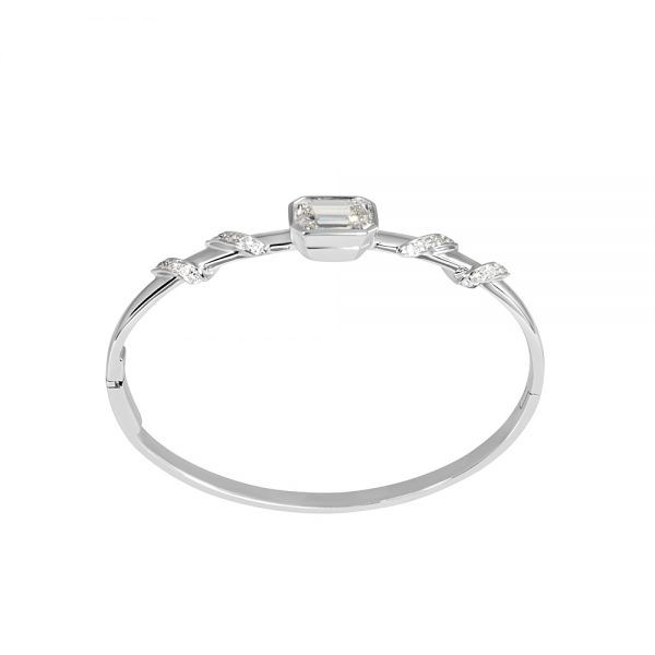 Maggie Emerald Cut Diamond With Diamond Wrap Bangle-2140