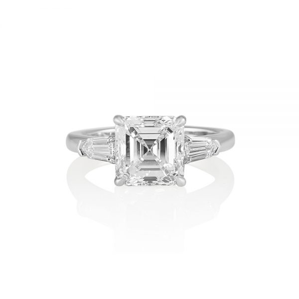 Asscher Cut Tapered Bullets Three Stone Engagement Ring for Averil-0