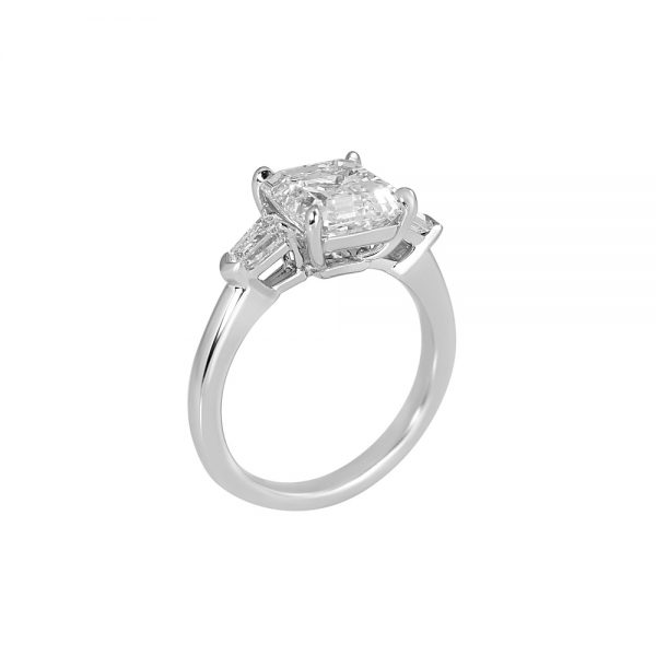 Asscher Cut Tapered Bullets Three Stone Engagement Ring for Averil-2189