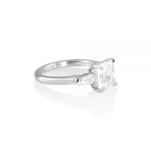 Asscher Cut Tapered Bullets Three Stone Engagement Ring for Averil-2190