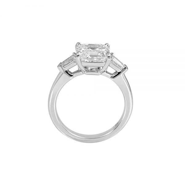 Asscher Cut Tapered Bullets Three Stone Engagement Ring for Averil-2192