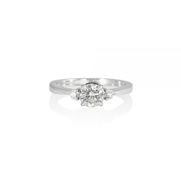 Cassandra Three Stone Diamond Engagement Ring-0