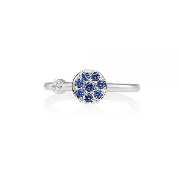 Christina Sapphire Disk Ring with Diamond-0