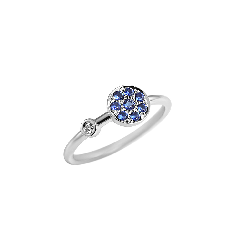 Christina Sapphire Disk Ring with Diamond-2168