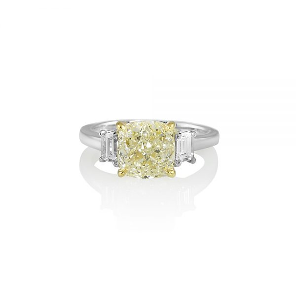 Fancy Yellow Diamond Three Stone Engagement Ring for Olga-0