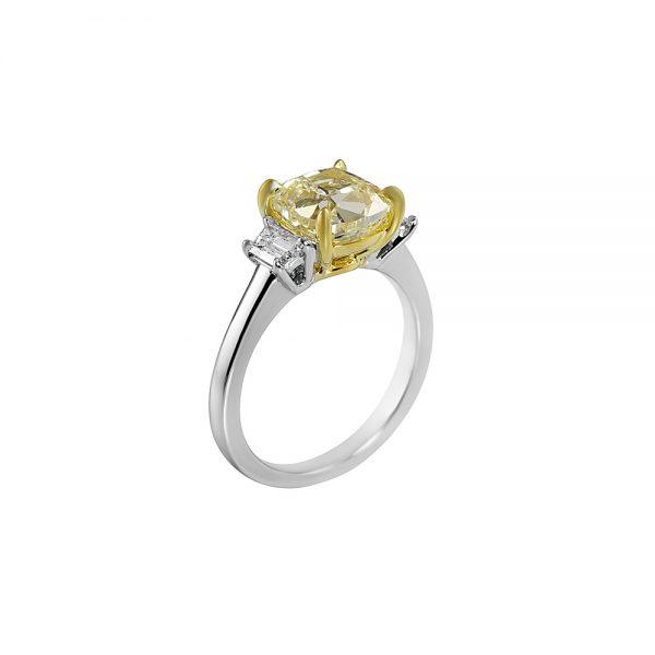 Fancy Yellow Diamond Three Stone Engagement Ring for Olga-2198