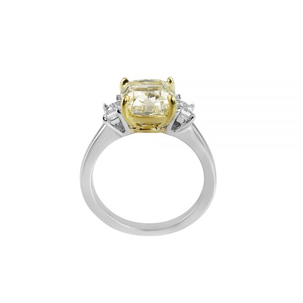 Fancy Yellow Diamond Three Stone Engagement Ring for Olga-2200