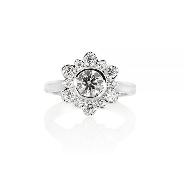 Jennifer Snowflake Shaped Diamond Engagement Ring-0