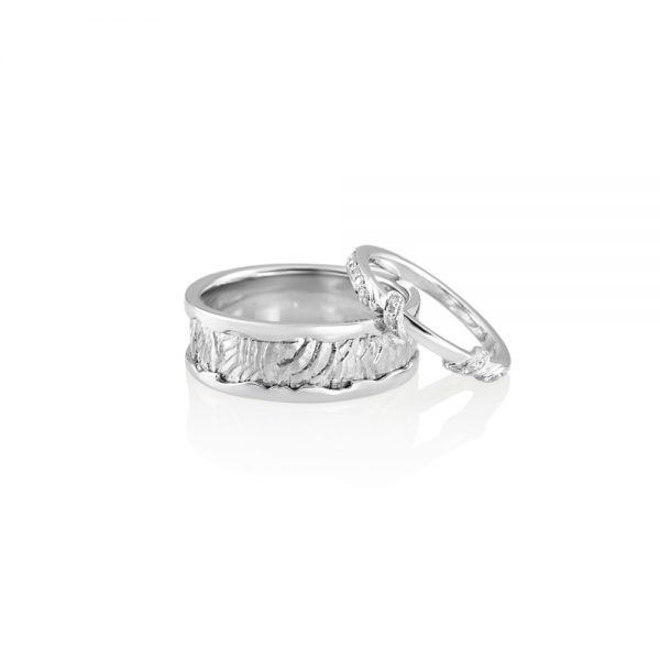 Hand Carved Wrap Around Diamond Band for Kate-2223