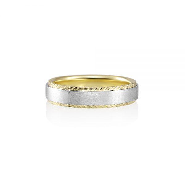 Platinum and Textured Green Gold Men's Wedding Band for Bennett-0