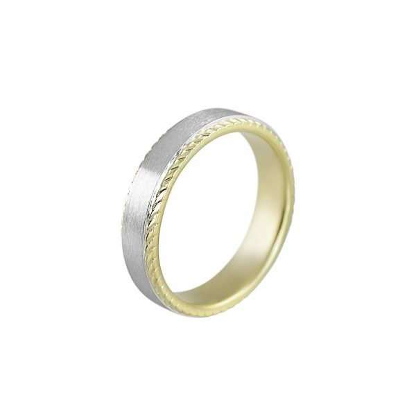 Platinum and Textured Green Gold Men's Wedding Band for Bennett-2158