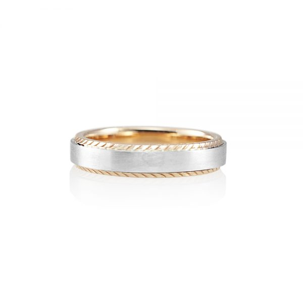 Platinum and Textured Rose Gold Men's Wedding Band for Grant-0