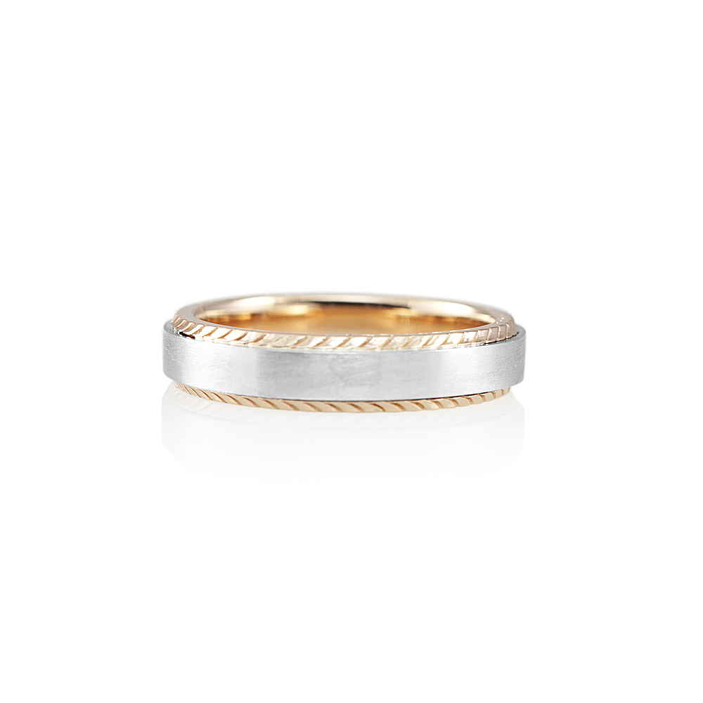 Platinum And Textured Rose Gold Men S Wedding Band For Grant 0