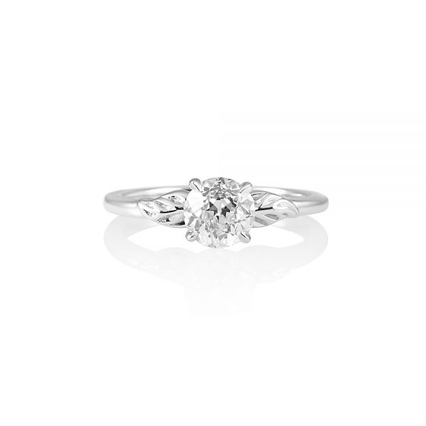 Reiko Solitaire Leaf Engagement Ring-0