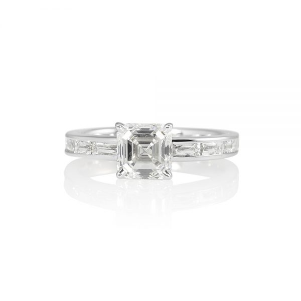 Sara Asscher Cut with French Cut Diamond Band Engagement Ring-0