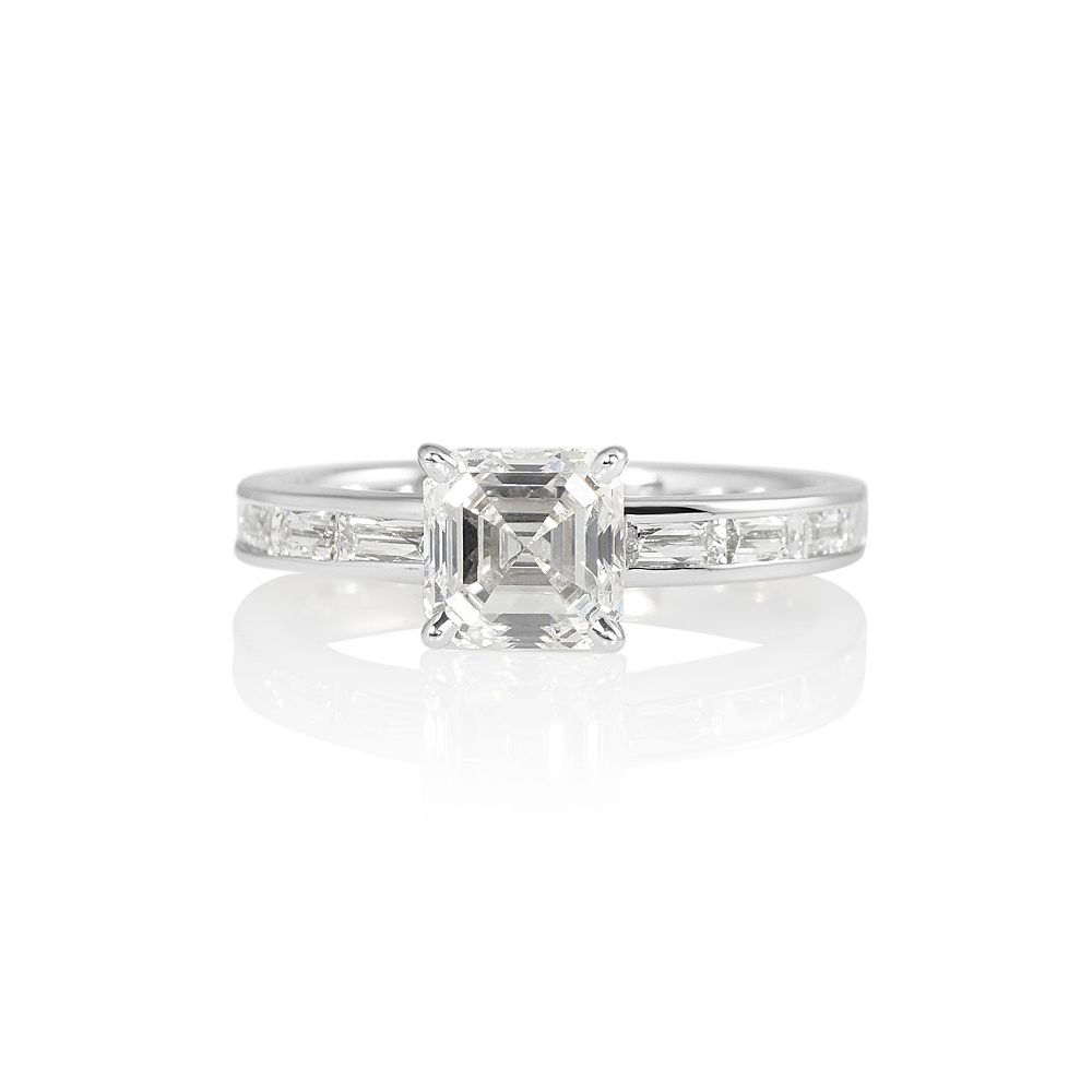 midcentury platinum diamond cut engagement ring rings asscher carat