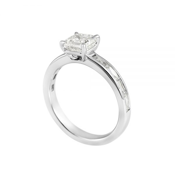 Sara Asscher Cut with French Cut Diamond Band Engagement Ring-2072