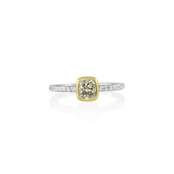 Champagne Diamond Ring with Diamond Band-0