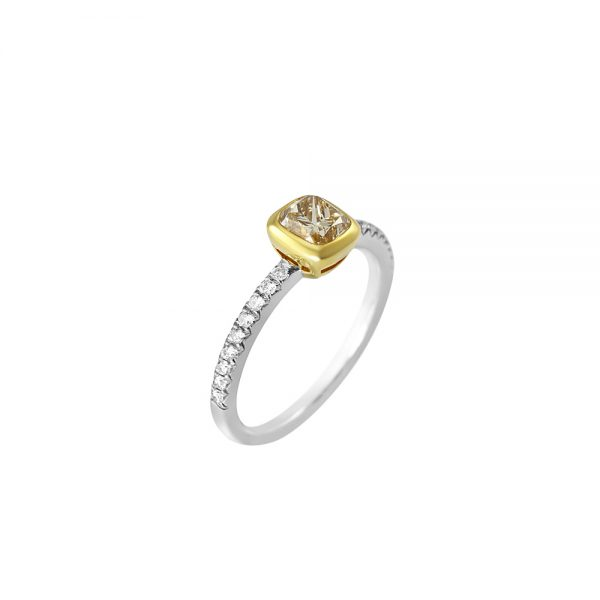 Champagne Diamond Ring with Diamond Band-2252