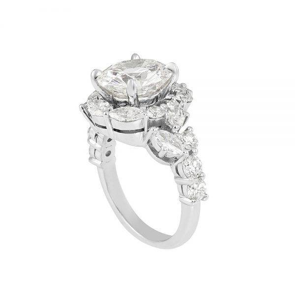 Courtney Round and Marquise Fantasy Diamond Ring-2226