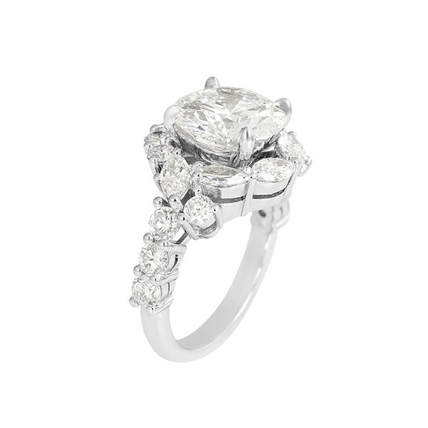 Courtney Round and Marquise Fantasy Diamond Ring-2227
