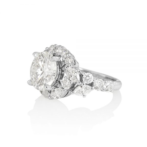 Courtney Round and Marquise Fantasy Diamond Ring-2229
