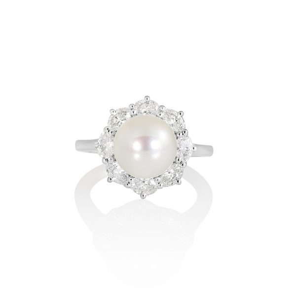 Dayna Pearl and Diamond Halo ring-0