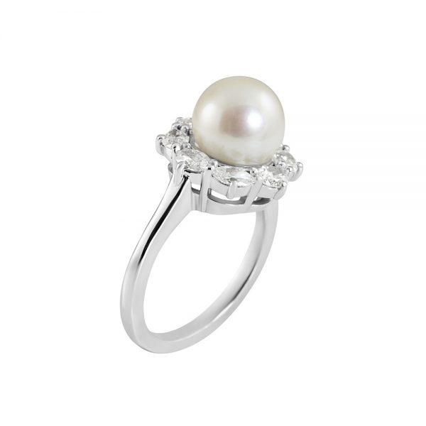 Dayna Pearl and Diamond Halo ring-2241