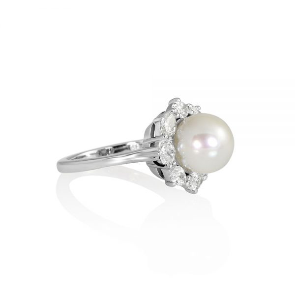 Dayna Pearl and Diamond Halo ring-2242