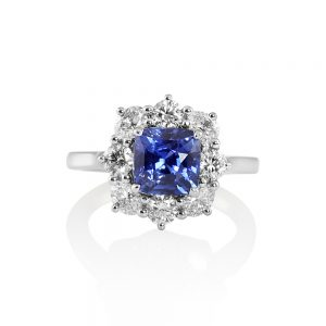 Nicole Sapphire and Diamond Cluster Engagement Ring-0