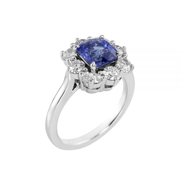 Nicole Sapphire and Diamond Cluster Engagement Ring-2233