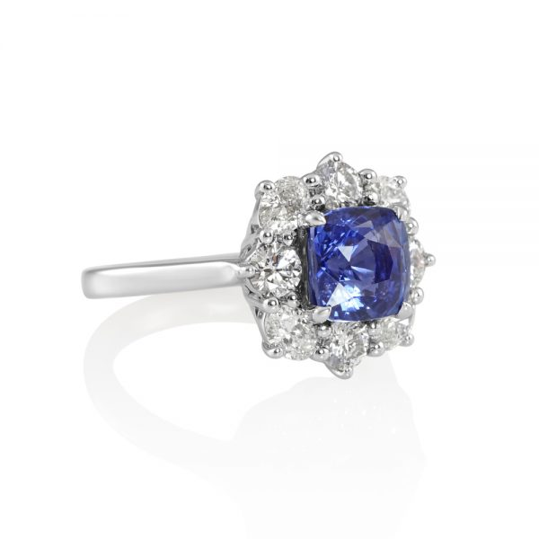Nicole Sapphire and Diamond Cluster Engagement Ring-2234