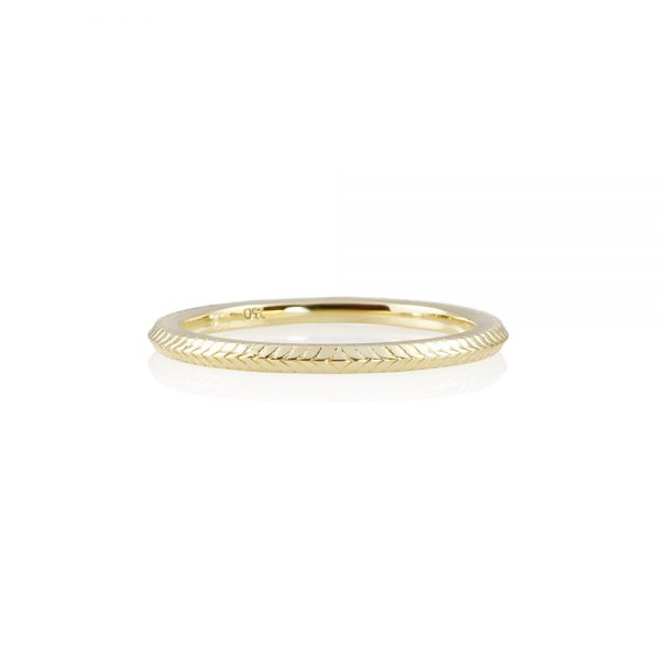 Textured Thin Yellow Gold Band-0