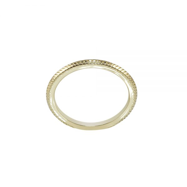 Textured Thin Yellow Gold Band-2250