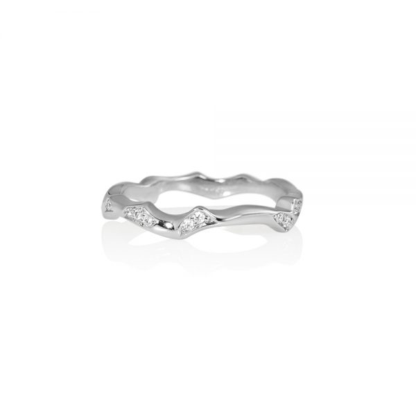 Reiko Platinum and Diamond Rose Branch Ring-0